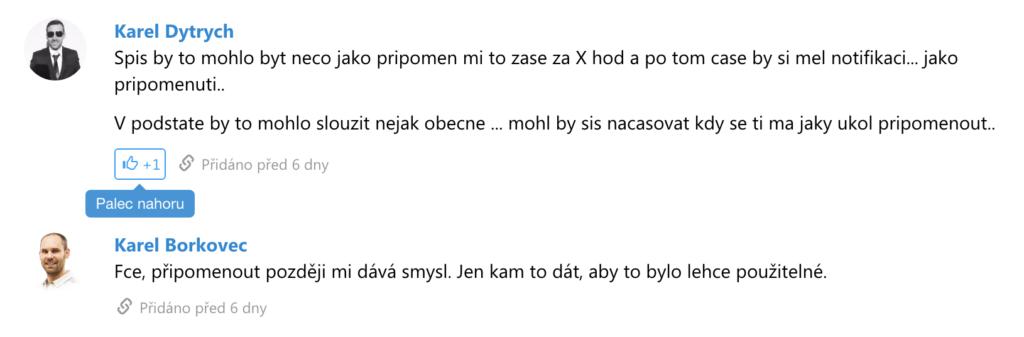 reakce ke komentářům